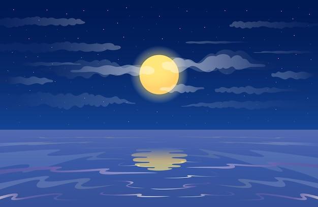 Księżyc w pełni odbity w tle wody
