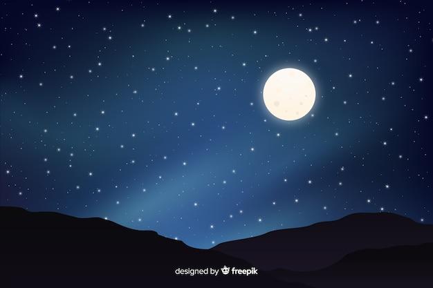Księżyc w pełni z gwiaździstą nocą gradientu nieba