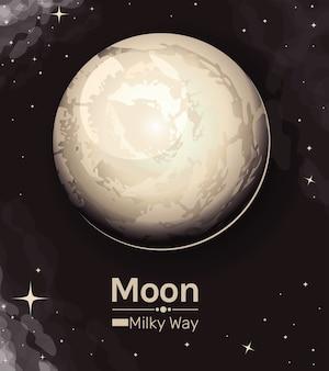 Księżyc w stylu drogi mlecznej ikona nocnego nieba na dobranoc przestrzeń księżyca światło natury księżycowy i motyw naukowy
