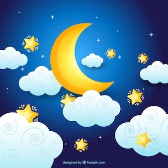 Księżyc w tle z chmurami i gwiazdami