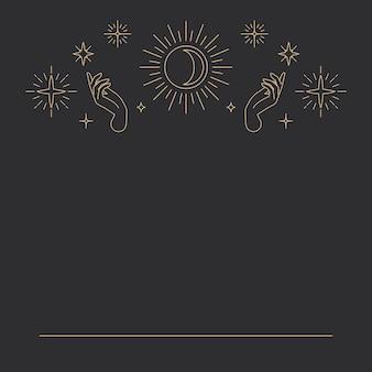 Księżyc wewnątrz słońca z dwoma otwartymi dłońmi na niebiańskim czarnym tle