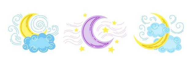 Księżyc z chmurami lub gwiazdą kreskówki. ręcznie rysowane zbiory symboli prognozy pogody