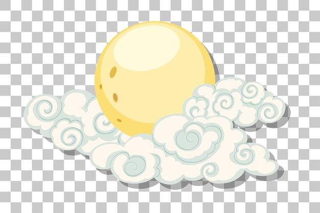 Księżyc z chmurami w stylu chińskim na przezroczystym tle