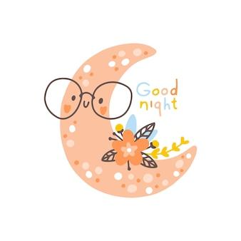 Księżyc z kwiatami przedszkole śliczny dziecinny plakat skandynawski boho