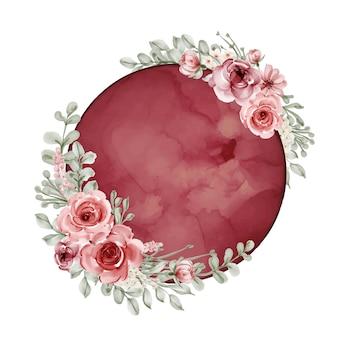 Księżyc Z Kwiatem Akwarela Czerwony Bordowy Premium Wektorów