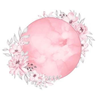 Księżyc z kwiatem akwarela jasny róż