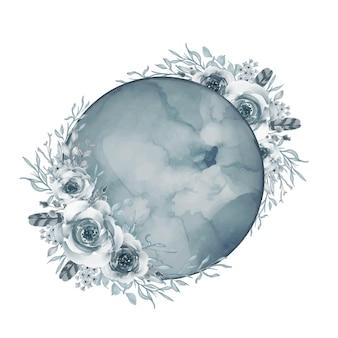 Księżyc z kwiatem akwarela niebieski kadet
