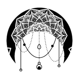 Księżyc z ręcznie rysowanym kwiatowym ornamentem mandali