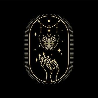 Księżycowa kryształowa fala słoneczna i święta geometria dla duchowego przewodnictwa czytnika kart tarota projekt tatuażu