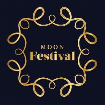 Księżycowy festiwal w złotej ramie ornament na ciemnoniebieskim tle, orientalny motyw chiński i uroczystość.
