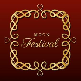 Księżycowy festiwal wewnątrz złotej ramki ornament na ciemnoczerwonym tle, orientalny motyw chiński i uroczystość.