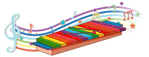 Ksylofon z symbolami melodii na fali tęczy