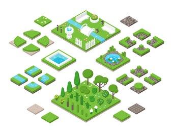 Kształtowanie krajobrazu izometryczny 3d elementy projektu ogrodu