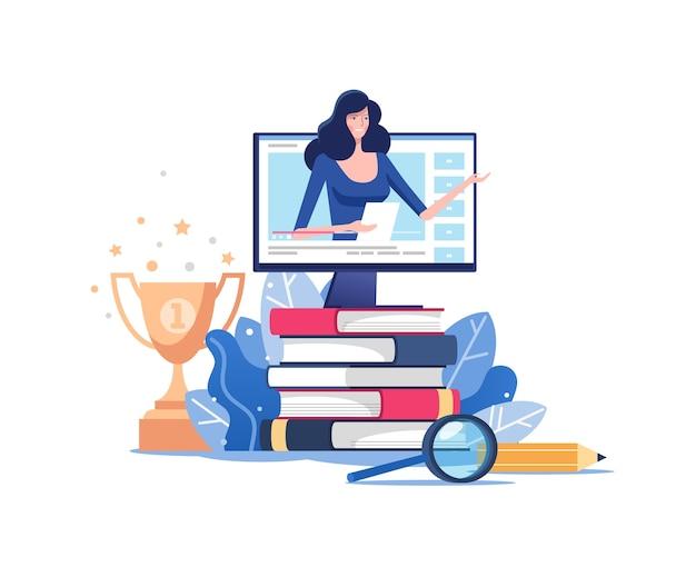 Kształcenie na odległość lub szkolenie biznesowe. webinar lub seminarium wideo koncepcja uczenia się wektora.