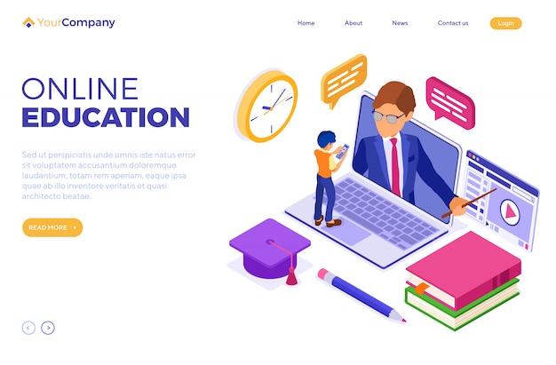 Kształcenie Na Odległość Online Z Domu Premium Wektorów