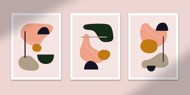 Kształt abstrakcyjne plakaty sztuka ręcznie rysowane kształty okładki zestaw kolekcja na dekoracje ścienne