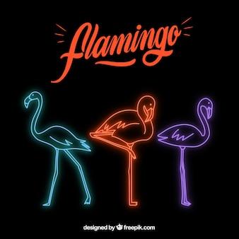 Kształt flaminga z neonowym światłem