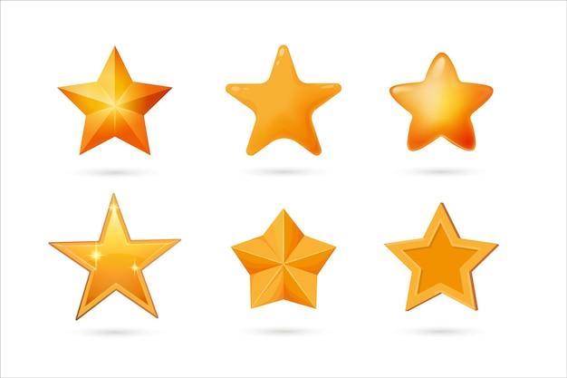 Kształt gwiazdy do zestawu odznak nagrody, oceny, głosowania i sukcesu. błyszcząca informacja zwrotna, lśniąca nagroda lub złoty symbol rankingu jakości w innej formie ilustracji wektorowych na białym tle