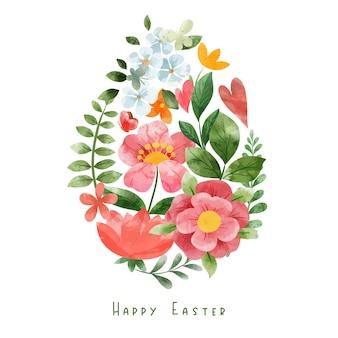 Kształt jajka złożony z elementów kwiatowych. dekoracja wielkanocna. ręcznie rysowane ilustracji akwarela.