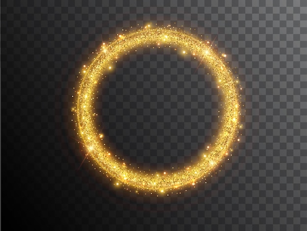 Kształt koła efekt świetlny na czarnym tle. złoty świecący neonowy okrąg ze świetlistym pyłem i odblaskami. świetlisty krąg. streszczenie stylowy efekt świetlny.