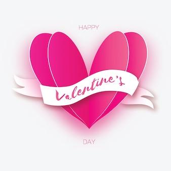 Kształt różowego serca. miłość w stylu cięcia papieru