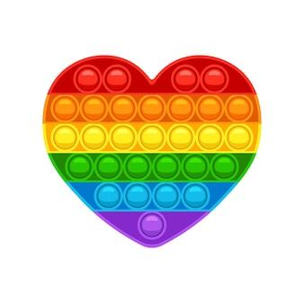 Kształt serca pop it modna gra antystresowa dla dzieci zabawka ręczna z bąbelkami w kolorach tęczy