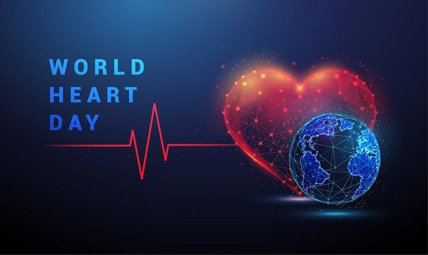 Kształt serca z czerwoną linią pulsu cardio i ziemi. projekt w stylu low poly. streszczenie tło geometryczne. struktura połączenia światła szkieletowego. nowoczesna koncepcja niebieski na białym tle