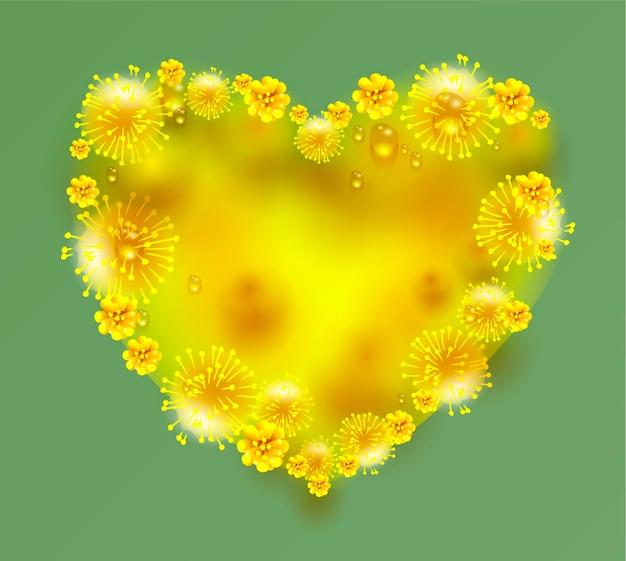 Kształt serca żółte kwiaty mimozy na zielonym tle