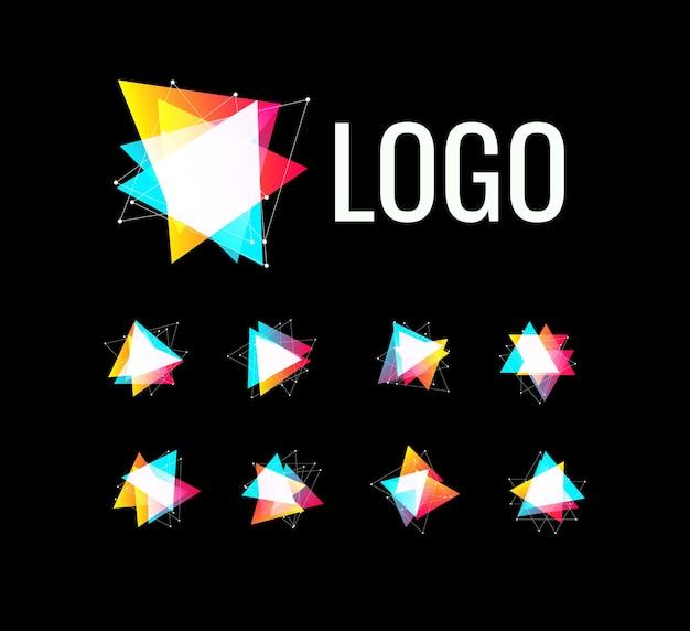 Kształt trójkąta zestaw wielokątnych geometrycznych szablonów logo kolekcja abstrakcyjnych logotypów wektorów