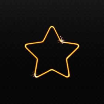 Kształt złotej gwiazdy z błyszczącego magicznego światła na czarnym tle