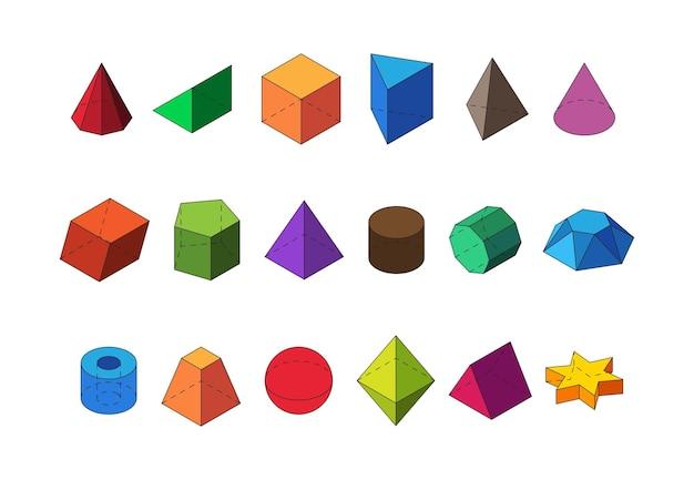 Kształty geometryczne izometryczne duży zestaw