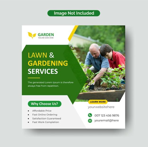 Kształty geometryczne trawnik ogród lub usługa kształtowania krajobrazu post instagram i szablon banera w mediach społecznościowych