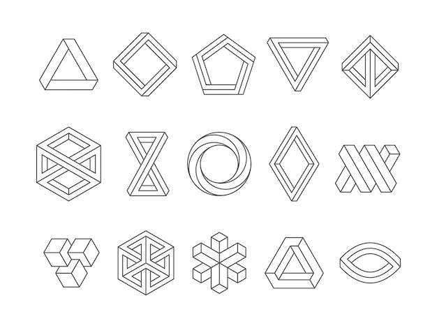 Kształty iluzji. 3d geometryczne trójkąty pętli nieskończoności sześciokąt niemożliwe perspektywy wektor streszczenie szablony logo. ilustracja 3d modny kształt wizualny, niezwykła perspektywa geometryczna