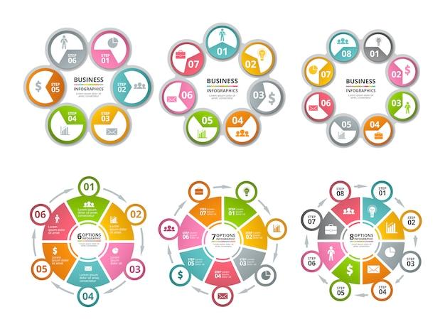 Kształty koła do infografiki. biznesowe wykresy radialne