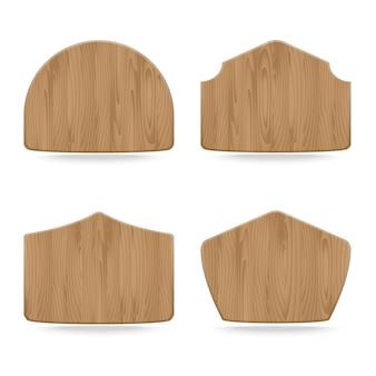 Kształty tablice drewniane znak, zbiór pusty drewniany znak, ilustracji wektorowych
