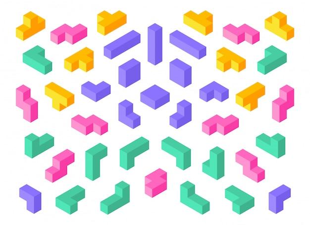 Kształty tetris. izometryczne elementy gry logicznej 3d kolorowe kostki abstrakcyjne bloki.