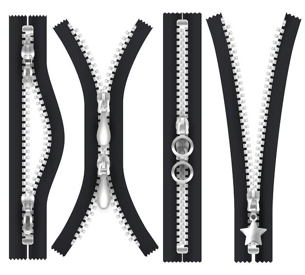Kształty wektorowe zamków błyskawicznych otwarte i zamknięte. srebrna klamra do ściągania zamka błyskawicznego, izolowane realistyczne elementy odzieży. czarny zamek błyskawiczny z metalicznymi srebrnymi zębami i klamrą, zamek błyskawiczny z zapięciem, akcesoria krawieckie
