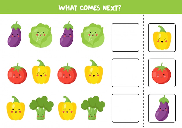 Które warzywo będzie następne. edukacyjna gra logiczna.