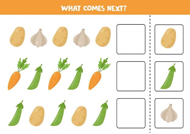 Które warzywo będzie następne. logiczna gra dla dzieci.