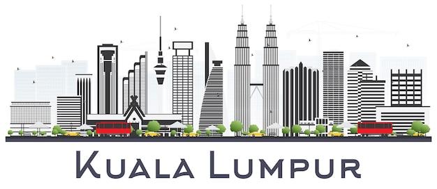 Kuala lumpur malezja panoramę miasta z szarymi budynkami na białym tle