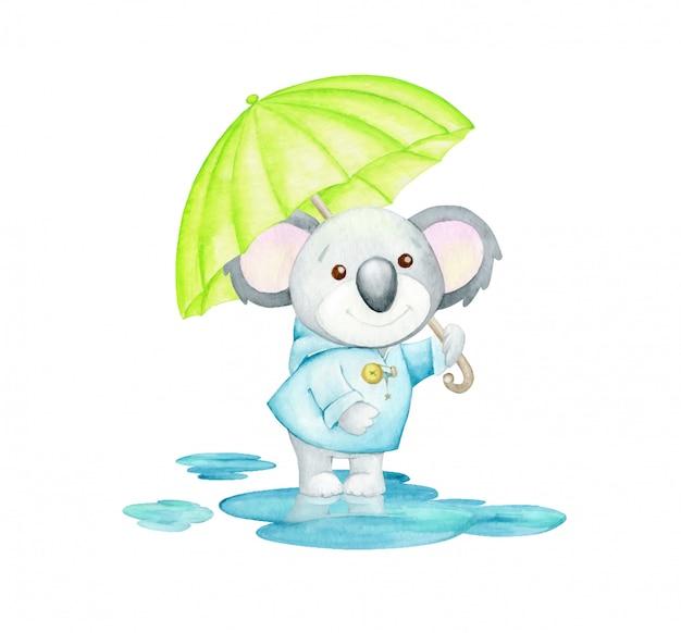 Kuala, w niebieskim płaszczu przeciwdeszczowym, z parasolem, stoi w kałużach. koncepcja akwarela. śliczne tropikalne zwierzę, w kreskówkowym stylu, na jesień.