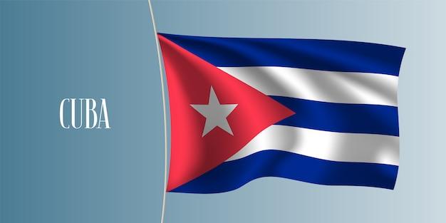 Kuba macha flagą ilustracja