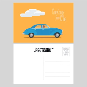 Kubańska pocztówka z ilustracją klasycznego amerykańskiego samochodu