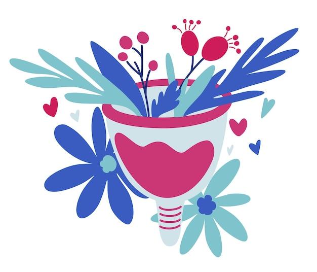 Kubeczek menstruacyjny z kwiatami. koncepcja zero odpadów. okres kobiet. higiena intymna.