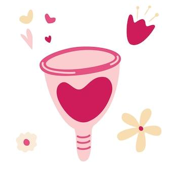 Kubeczek menstruacyjny. zero odpadów materiałów do higieny osobistej. ekologiczna ochrona kobiety w krytyczne dni. zmywalny kubek menstruacyjny. zrównoważony styl życia. ilustracje wektorowe dla stron internetowych, sklepów i aplikacji.