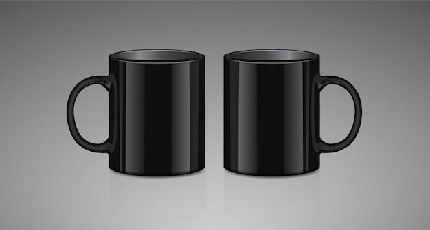 Kubek czarnej herbaty. widok z boku. realistyczne wektor makiety szablon kubek