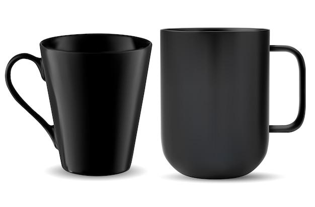 Kubek do herbaty z czarnym uchwytem szablon filiżanki kawy