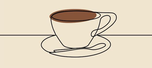 Kubek do kawy minimalizm sztuka jednoliniowa ciągła sztuka wektor premium