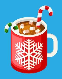 Kubek do kawy z piankami marshmallows i trzciną cukrową. świąteczny gorący napój z deserami. gorąca czekolada, filiżanka kawy lub kakao. nowy rok, wesołe święta bożego narodzenia. płaska ilustracja wektorowa