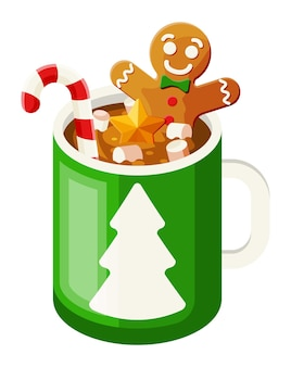 Kubek do kawy z piernikowym ludzikiem, piankami i cukrową laską. świąteczny gorący napój z deserami. gorąca czekolada, kakao. nowy rok, wesołe święta bożego narodzenia. płaska ilustracja wektorowa